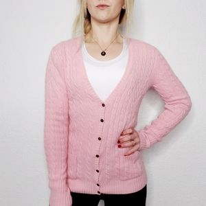 J. Crew Pink Cable Knit Cozy Button Down Cardigan